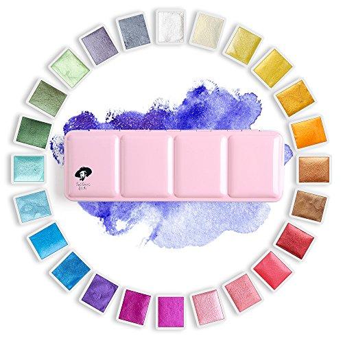 Paul Rubens - Pinturas de acuarela para artista, con purpurina, colores sólidos, color rosa, portátil, caja de metal con paleta – 24 colores (24 colores con brillo)