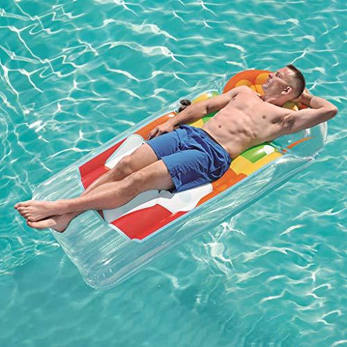 chwimmt für Kinder Erwachsene Cartoon-Schwimmring Wasser aufblasbares Spielzeug Schwimmendes Bett Liegen Floating Row für die Sommerferien Pool-Party Reise, 190 x 99 cm (Orange) ()