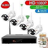 H.265+ CORSEE 1080P WLAN Überwachungskameras Set ohne Festplatte,8 Kanal NVR mit 4 WiFi Innen/Außen Kameras System,Nachtsicht,Bewegungsmelder,Email Alarm,Live Video über App