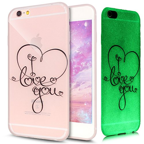 Cover iPhone 6S Plus,Cover iPhone 6 Plus,Custodia iPhone 6 Plus / 6S Plus Cover Case,ikasus® Crystal Traslucido TPU luminoso nottilucenti con Colorato dipinta Motivo del fiore per iPhone 6 Plus / 6S P I Love You