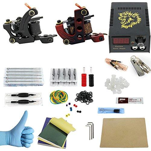MZP Beauty Tattoo Maschine Starter Kit 2 Gusseisen Maschine Liner & Shader Hochwertige LCD Netzteil 2 X Edelstahl Griff 50 Stück Tattoo Nadeln,Usadapter - Duplex Motor