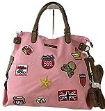 fashion&DU PATCHES STERN Handtasche Schultertasche bag Umhängetasche Tragetasche US star groß (Rosa)