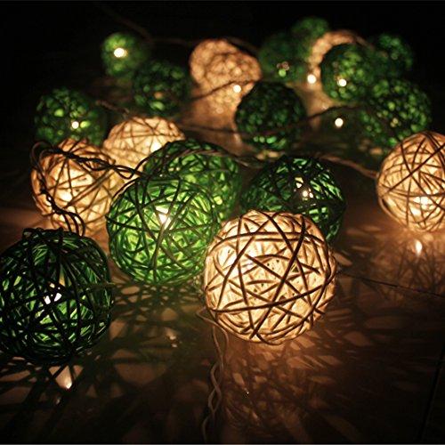 Calcifer® - Guirlande extérieure de boules de rotin de 3 m avec 20 LED - Fil ultra-fin en cuivre - Décoration de mariage, jardin, terrasse, arbre, fête, chambre, Noël Blanc + vert