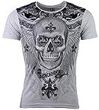 T-Shirt - Totenkopf - Skull - Rose - mit Strass Steinen - in schwarz oder weiß (M, grau)
