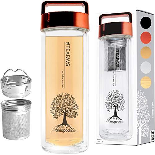 amapodo Teeflasche Teamaker doppelwandig 400ml Thermo Trinkflasche mit Edelstahl Tee Sieb und Deckel rot BPA-frei