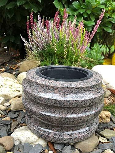 Stone & More Grab–12cm x 20cm–Maceta Granito Paradiso–Cuenco Flores para Cementerio Grab Carcasa Paradiso