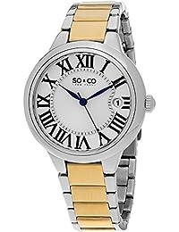 SO & CO New York para mujer reloj infantil de cuarzo con plateado esfera analógica y plateado correa de acero inoxidable de 5052b, 2