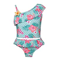 TiaoBug Kids Girls Floral Ruffles Shoulder Strap Tankini Swimsuit Swimwear Top with Bottoms Swimming Costume Light Green 5-6 Years