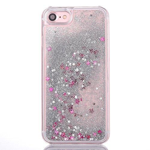 iPhone 7 Plus Hülle,Mo-Beauty® Schutzhülle iPhone 7 Plus Hülle Transparent Hardcase,Dynamisch Treibsand Flüssige Fließend Wasser Schutzhülle 3D Kreative Liquid Bling Hülle Case Glitzer Glitter Shiny G Silvery,Star