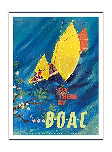 Der Orient - Chinesische Dschunke (Boot) - Fliege mit BOAC (British Overseas Airways Corporation), Britische Fluggesellschaft Fluglinie Luftfahrtgesellschaft - Vintage Retro Fluggesellschaft Reise Plakat Poster von David Judd c.1961 - Premium 290gsm Giclée Kunstdruck - 30.5cm x 41cm (Dschunke Chinesischen Boote)