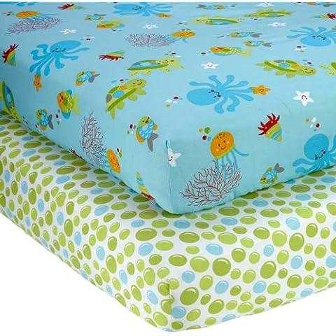 NoJo Little Bedding 2 Count Crib Sheet Set, Ocean Dreams by Little Bedding