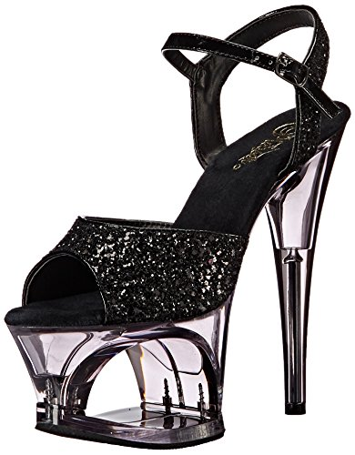 Pleaser Damen MOON-710GT Plateausandalen, Schwarz (Blk Glitter/Smoke), 39 EU Cut Out Platform Sandal