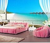 Fototapete Benutzerdefinierte 3D Fototapeten Wandmalereien Malediven 3D Stereoskopische Fenster Balkon Strand Meerblick Hintergrund Wandbild Vliestapete 150Cmx105Cm