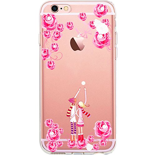 GIRLSCASES® | iPhone 6-6S Plus Hülle | Im Schmetterling Blumen Motiv Muster | in rosa pink | Fashion Case transparente Schutzhülle aus Silikon Verliebtes Paar