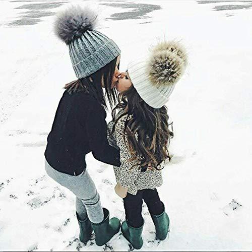 Imagen de oyfel sombrero de punto bufanda de invierno de nieve gorros caliente caza calido orejas christmas navidad 14 * 17cm pompon piel con bola para ninos ninas bebe alternativa