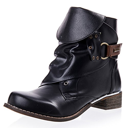 Ladies Vintage Ankle Boots Mid Chunky Block Biker Boots Low Heel with...