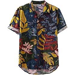 Berimaterry Polos Manga Corta Básico Botones Camisa Hawaiana Hombre Camiseta Fruta Floral Tops Bohemia Raya Playa de Verano Impresión Vintage Retro Blusa Slim Fit Shirts Cuello Tallas Grandes 5XL