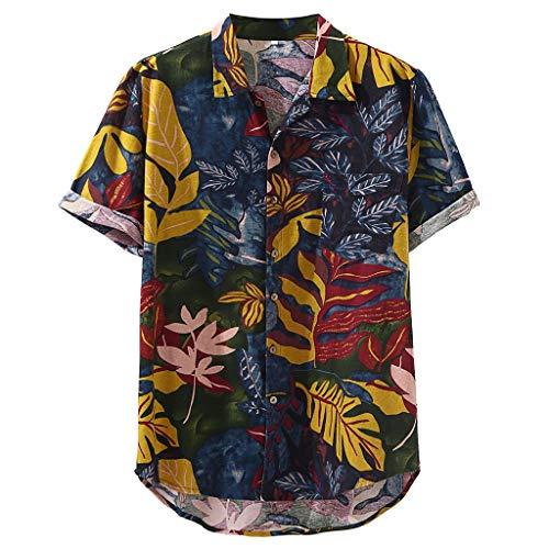 Karinao Herren T-shirt Revers Retro Hawaii Gedruckt Baumwolle Kurzarm Top Musterdruck Breathable beiläufige Kurze Hülsen-lose Hemden(XL,Mehrfarbig)
