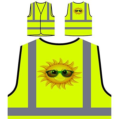 Sonne mit Sonnenbrille Personalisierte High Visibility Gelbe Sicherheitsjacke Weste m42v