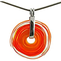 Necklace with pendant in orange shades of Murano glass | exchange jewellery | handmade | personalized gift for Valentine's Day Mother's Day Birthday annivarsary wedding