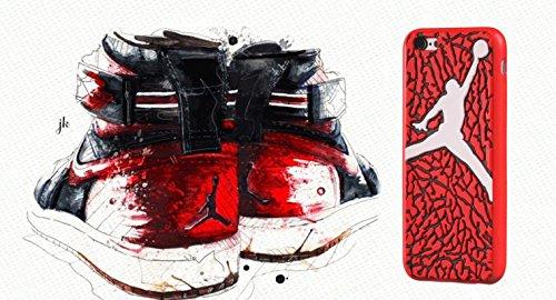New Ronney 's Air Jordan Soft Silikon Sohle für Apple iPhone 6/6S, Silikon, Rosa / Weiß, STYLE 2 Rot / Weiß