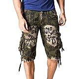 GreatestPAK Pants Shorts Herren Hosen Casual Pocket Strand Arbeit Casual Short Hosen,Armeegrün,29