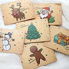Idea Regalo - 30pc buon natale cartoline renne santa serie carte con buste adesivi e opp borse fissa (Babbo)