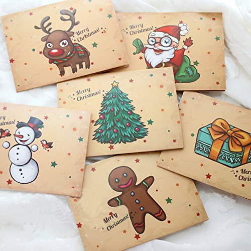30pc buon natale cartoline renne santa serie carte con buste adesivi e opp borse fissa (Babbo)