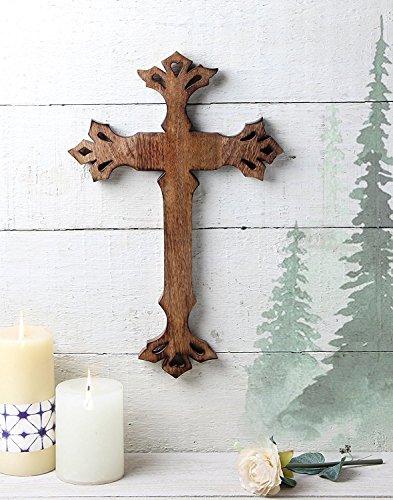 Storeindya Geschenke Hölzerne Wand-Kreuz-Plakette, hängen mit handgeschnitzten Holz Kruzifix Wooden Wall Cross Altar mit freiem Schlüsselanhänger Wandbehang Wohnkultur für Haus Erwärmung