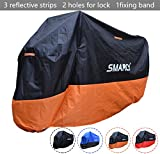 SMARCY® Motorradgarage Motorradabdeckung Motorrad Abdeckplane Wasserdicht Staubdicht XXL Orange und Schwarz