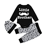 Askwho 3pcsSet Neonati bambini Baby Boys stampa Abiti Romper Cime Lunghe + Pantaloni + Cappello Set (0-3 mesi)