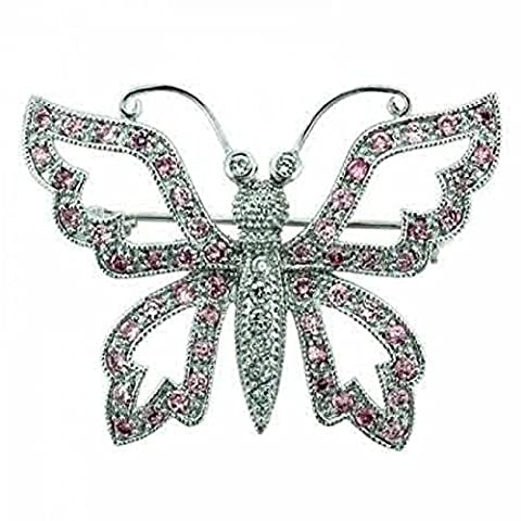 Sterling Silver Filigree pave Pink cz and Simulated Cubic Zirconia Butterfly Pin