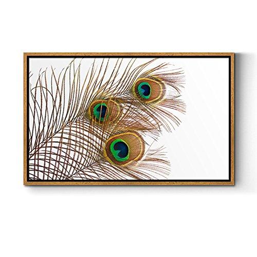 Paintsh Feder Dekoration Wohnzimmer Sofa Hintergrund Wandmalerei Eingangsportal Wandbild Studie Öl Malerei Schlafzimmer Frame Malerei, 90 * 60 cm Bronze Braun Rahmen (37 Dick), DL-003D -