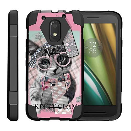 turtlearmor | Motorola Moto E3Fall | Moto E 3. Gen. Fall | Moto G4Play Schutzhülle [dynamisch Shell] Hard Hybrid Silikon Ständer Impact Cover Schutz Girl Designs -, Hipster Cat (Phone Moto G Cricket)