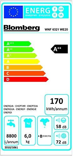 Blomberg WNF 6321 WE20 Frontlader Waschmaschine / A++ B / 0.746 kWh / 1200 UpM / 6 kg / 40 L / Display / AquAvoid / weiß - 2
