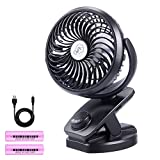 Ausein Clip on USB Desk Fan, Mini Portable Personal Air Cooling Fan with 5000mAh Rechargeable Battery Operated, 360° Rotation Quiet Fan for Baby Stroller, Home, School, Workplace, Camping (Black) ...