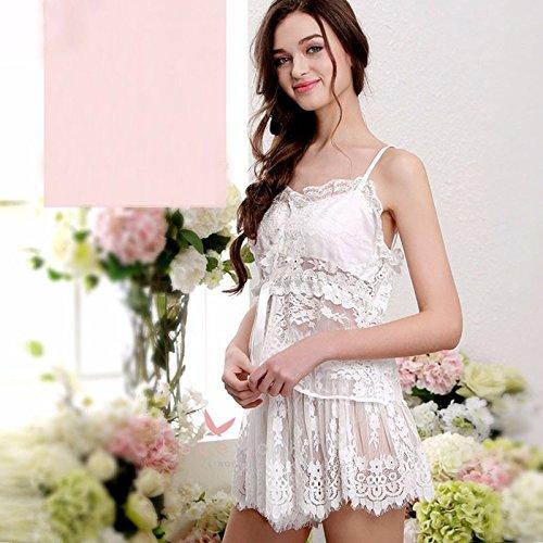 lpkone-Tampon de gaze poitrine chemise sexy Lady tentation perspective robe dentelle sous-vêtements sexy pantalons sangle taille moyenne, blanc White