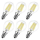 Lampadina Filamento LED E14, LVWIT G45, 4W Equivalenti a 40W, 470Lm, Luce Bianca Calda 2700K, Non dimmerabile - Pacco da 6