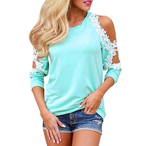 Damen Langarmshirt,,Bestop Damen T-Shirt Bluse Beiläufiges Hemd Langarm O-Ausschnitt Schulterfrei Oberteile Tops (L, Blau)