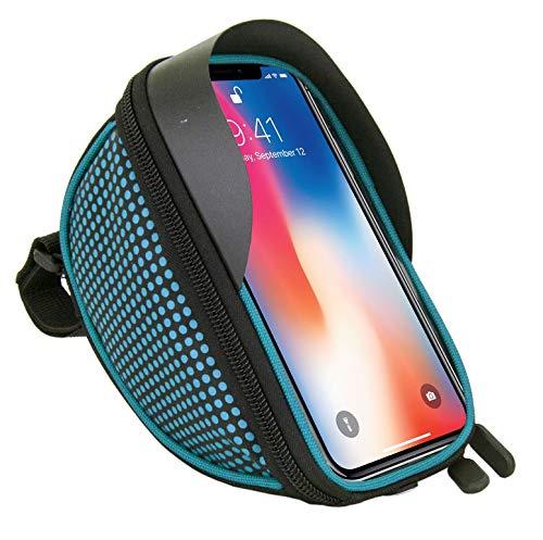Fahrradtasche Fahrradtasche Fahrrad Lenker Rahmen Universal Touchscreen Halterung für Sony Xz2, XZ1, XA2, XZ2 Compact, XA1, XZ1 Compact, L1, XA1 Plus, XZs, L2 Smartphone mit Aufbewahrungstasche Blau