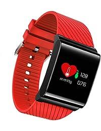 Pulsera Inteligente Pulsera de la presión Arterial del Tacto del Control del Ritmo cardíaco de 0.96 Deportes Pulsera Impermeable, perseguidor de la Aptitud (Color : Red)