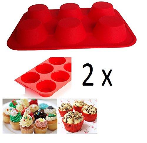 SWEET CANDY BAKERY 2 x Cupcakeform Muffinform aus Silikon Eiswürfelform Back Form Cupcake Muffin Törtchenform Ofenform Backofenform Schokoladen-form