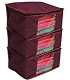 #10: Kuber Industries 3 Piece Non Woven Saree Cover Set, Maroon