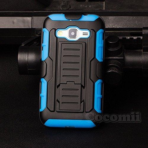 Galaxy core prime custodia, cocomii robot armor new [heavy duty] premium belt clip holster kickstand shockproof hard bumper shell [military defender] full body dual layer rugged cover case paraurti samsung i8550 (blue)