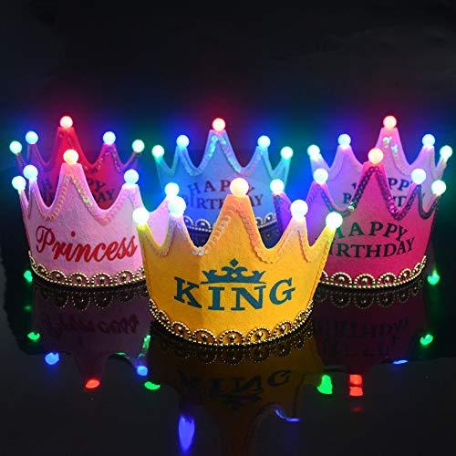 ChicSoleil Happy Birthday Krone Prinzessin/Prinz Königskrone Krone Haarreif Kopfschmuck Geburtstag Kopfschmuck mit Led Lampe für Kinder Erwachsene (Birthday Erwachsenen Happy)