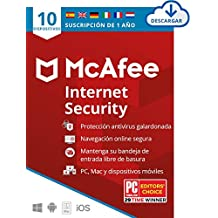 McAfee Internet Security 2020, 10 Dispositivos, 1 Año, Software Antivirus, Manager de Contraseñas, Seguridad Móvil, PC/Mac/Android/iOS, Edición Europea, Código de activación enviado por email