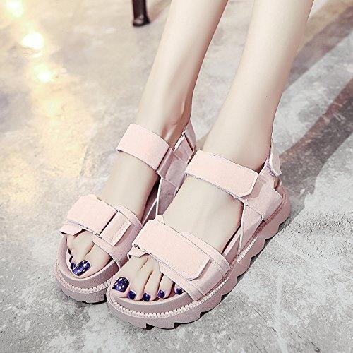 Lgk & studente fa estate sandali spessa suola sandali da donna estate all-match muffin piatto scarpe casual Pink