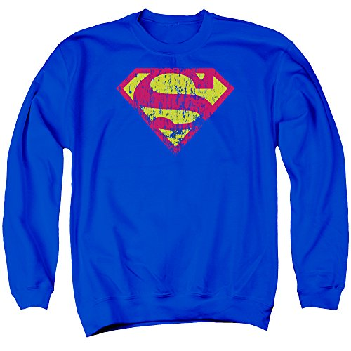 Superman Männer Klassisches Logo Distressed Sweater, Small, Royal Blue (Sweatshirt Klassisches Blue Royal)