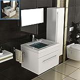 Badmöbel Set für das Badezimmer in 60x45 cm Weiß Hochglanz, Mineralguss Waschbecken und Unterschrank