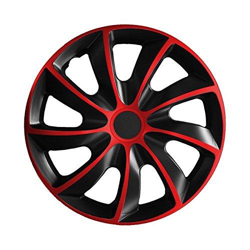 15 Zoll Radkappen QUAD Schwarz-Rot (Farbe und Größe wählbar!)